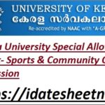 Kerala University UG Degree Allotment Result 2021