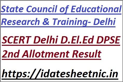 Delhi D.El.Ed DPSE 2nd Allotment Result 2021